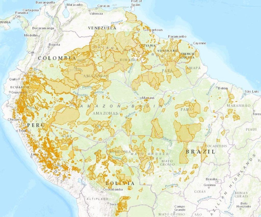 mapa de territorios indigenas del amazonas
