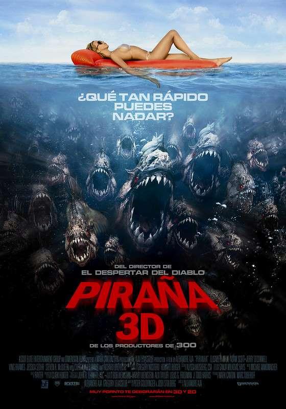 piraña 3D afiche