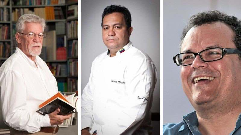 De izquierda a derecha: Dr. Rafael Cartay, Chef Nelson Méndez,  y el Historiador Juan Alonso Molina