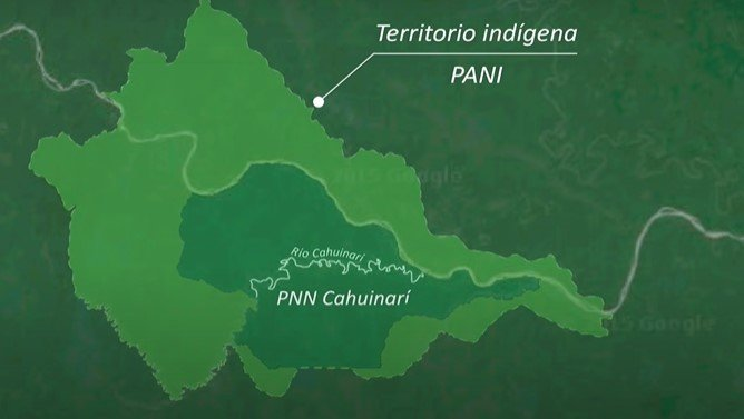 Mapa de ubicación parque nacional cahuinarí y el territorio indígena pani