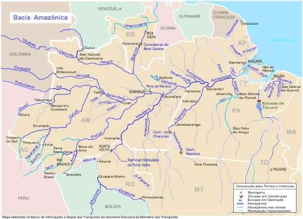 mapa de la cuenca del rio amazonas